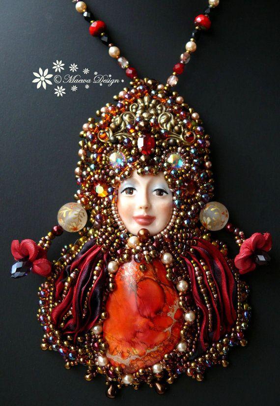 Bead+embroidered+Pendant+necklace+Shibori+silk+by+MaewaDesign