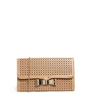 Enlarge Liquorish Laser Cut Nude Clutch Bag With Bow