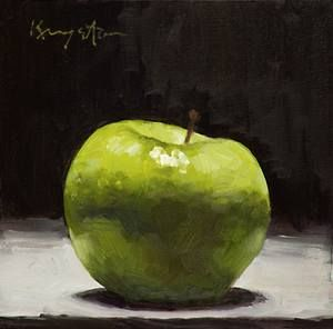 Fat Granny   6 x 6 oil on panel This is part of a series of 'Kitchen Art' paintings I am doing.