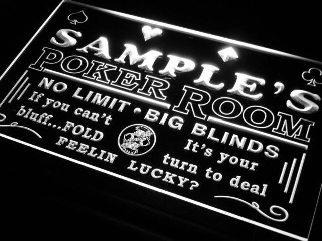 Man Cave Custom Name Poker Sign Led Neon Personalize Home Casino Room Decor