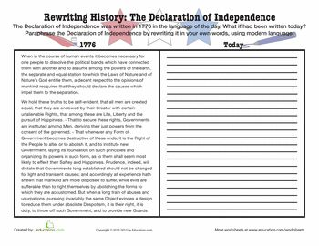 Worksheets: Paraphrase the Declaration of Independence