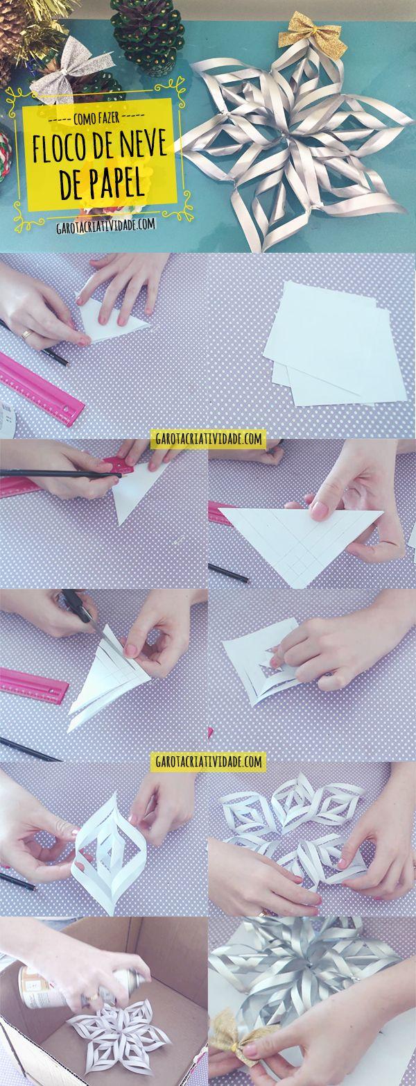 Calendário do Advento - Artesanato de Natal - Como fazer floco de neve de papel 3D - Passo a Passo  Confira vídeo em http://www.garotacriatividade.com/floco-de-neve-de-papel/
