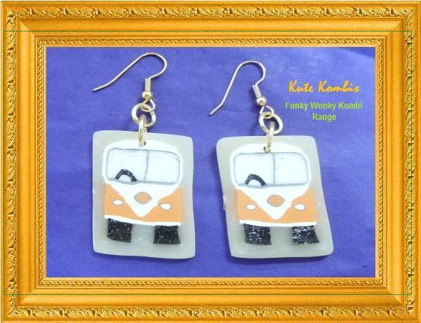 "VW Kute Kombis on Facebook ""Funky Wonky Kombi"" range. Polymer Clay Kombi Canes created by myself. Earrings using Surgical Steel Earring Wires"