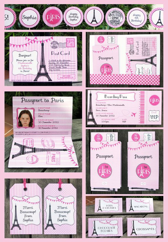 Paris Party Invitation  full Printable Collection, EDITABLE text - you personalize at home with Adobe Reader - INSTANT DOWNLOAD on Etsy, $14.95