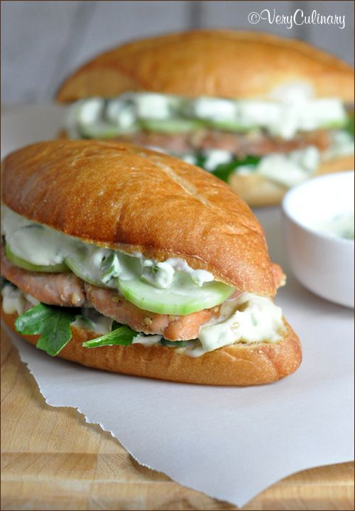 Salmon soaks overnight in a sweet & salty marinade for these Asian Salmon Rolls. Then is combined with a wasabi-lemon sauce and crunchy cucumber, to make an outstanding sandwich
