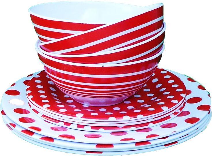 Wholesale 3 Piece Melamine Dinnerware Set - Red (Case of 72)