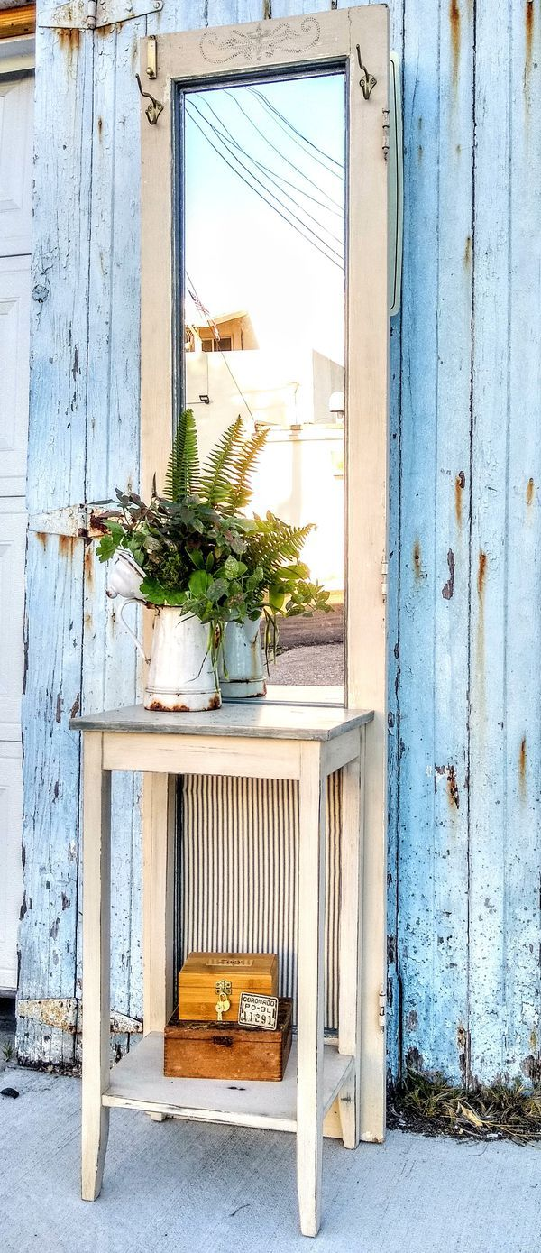 Vintage Rustic Farmhouse Upcycled Door Hall Tree for Sale
