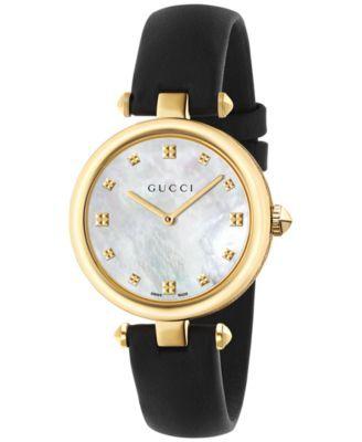 Gucci Women's Swiss Diamantissima Black Leather Strap Watch 32mm YA141404 | macys.com