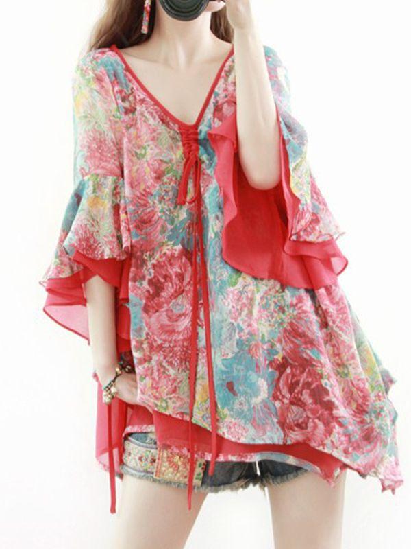 ボヘミア肌触りいいVネック5分袖不規則花柄シフォンブラウス - レディースファッション激安通販 20代·30代·40代ファッション