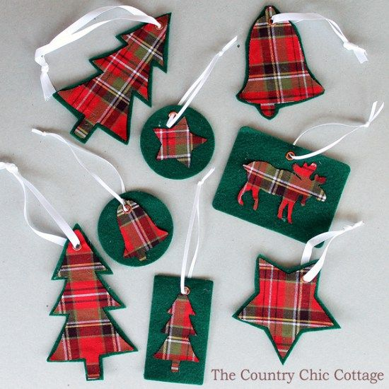 DIY Plaid Ornaments | 35 Easy and Inexpensive DIY Christmas Decorations