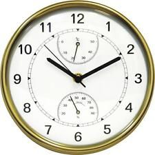 Brass Wall Clock With Thermometer Hygrometer Contemporary Design New