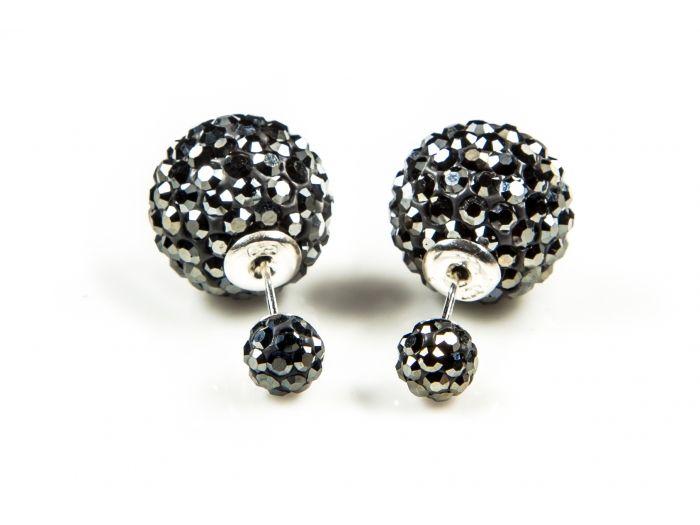 Double dots oorbellen hematite crystal | Verkrijgbaar bij Jewelz