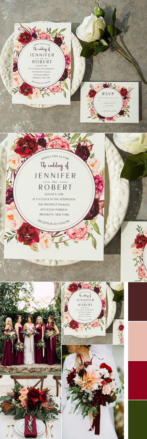 as low as $0.94 gorgeous burgundy and blush pink boho classic wedding invitations