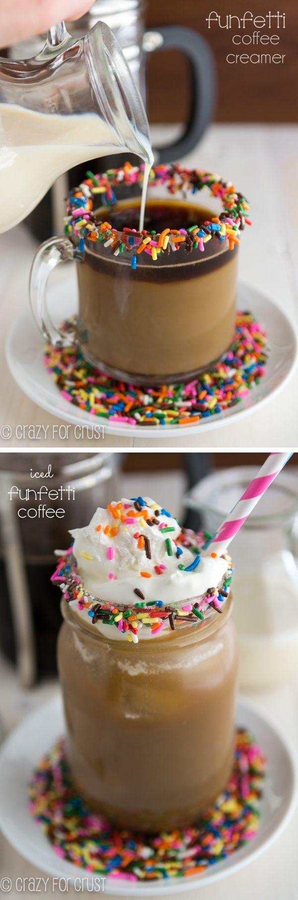 Hot or iced, Funfetti Coffee Creamer makes coffee taste like cake!