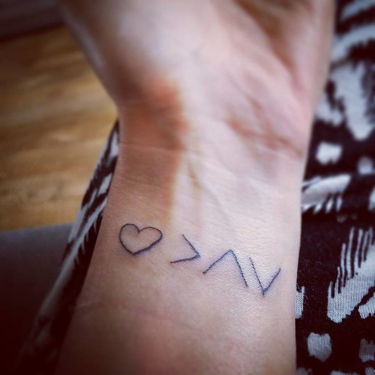 """""""This is mine, done just two weeks — BECAUSE of my daughter! She was recently diagnosed with type 1 diabetes at 4 years old. The tattoo means """"love is greater than the highs and lows.'"""" — Lisa McAnally"""