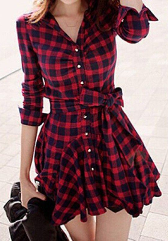 Red Plaid Single Breasted Ruffle Belt Wavy Edge Dress - Dresses