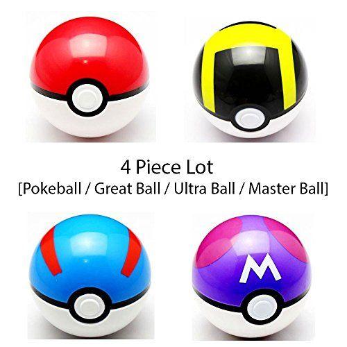 Pokeball Toy SetLot of 4 Pokemon Pokeball Great ball Ultra ball Master ball - They Open!! - Poke Master Ball