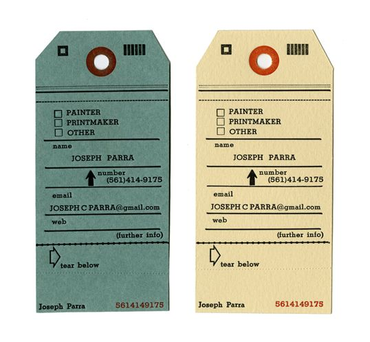 tag inspired letterpress business cards