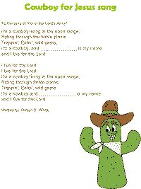 Cowboy for Jesus song color poster