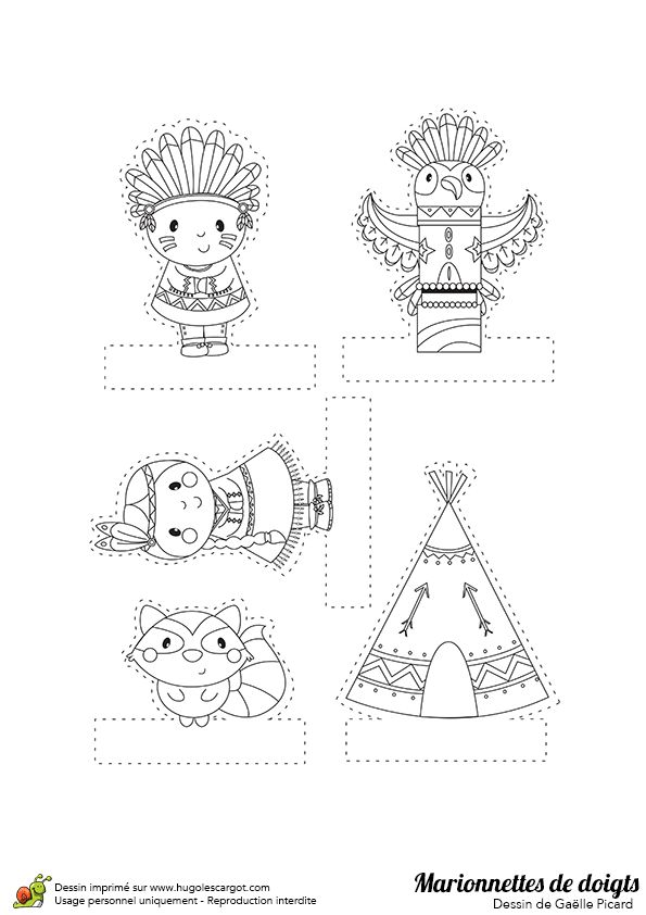 Dessin à colorier de marionnettes de doigts, les USA - Hugolescargot.com
