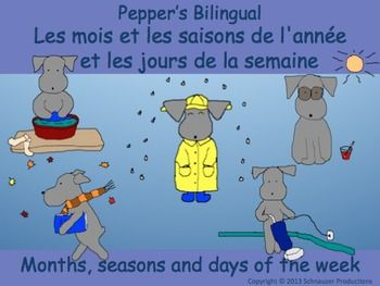 Join Pepper to discover seasons, months and days of the week in English and French.  The pictures for each month show seasonal weather and not cultural celebrations.  For those in the Southern Hemisphere go here.  For Spanish go here.    There are three interactive Powerpoints in English and three with French vocabulary.
