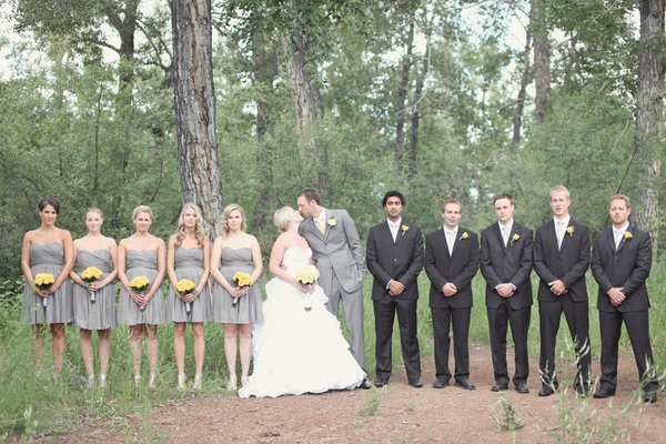 grey and black wedding party. maybe do the MOH in black as well?