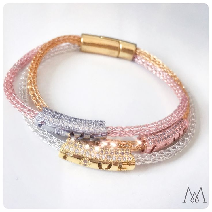 """Who loves * * * Bling * * * ?  Elegant luxurious 3 in 1 bracelet in gilt gold, silver plated and rose gold wires handmade / handwoven and decorated with Cubic Zircon rhinestone tube beads in same colour combo, that each has """"LOVE"""" hollow curved. The beads are 3 Times Fine Polished. Mirror Finish Plated."""