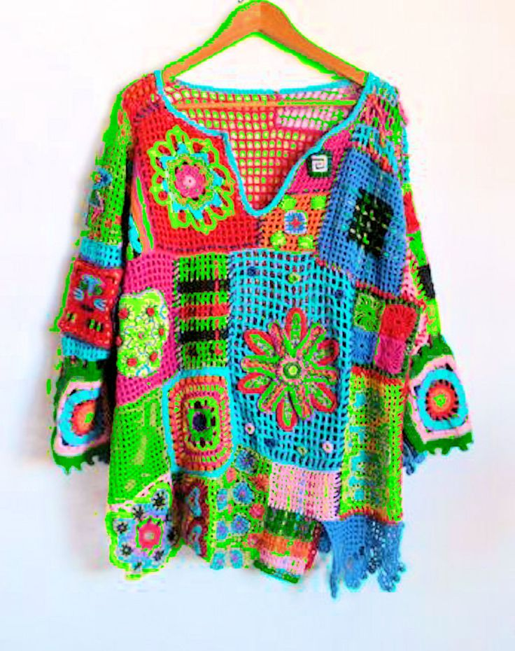 Crochet Free Form Squares and Flowers Top - Made to Order