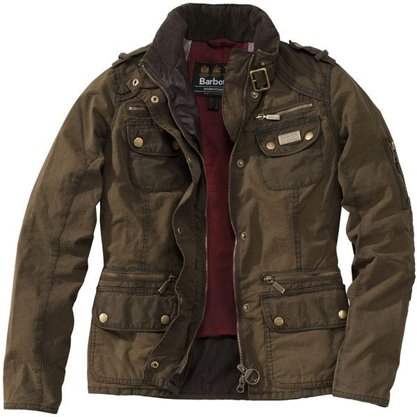 BARBOUR INTERNATIONAL Wachsjacke ($280) ❤ liked on Polyvore featuring outerwear, jackets, men, oliv, olive jacket, biker jacket, army green jacket, brown jacket and zipper jacket