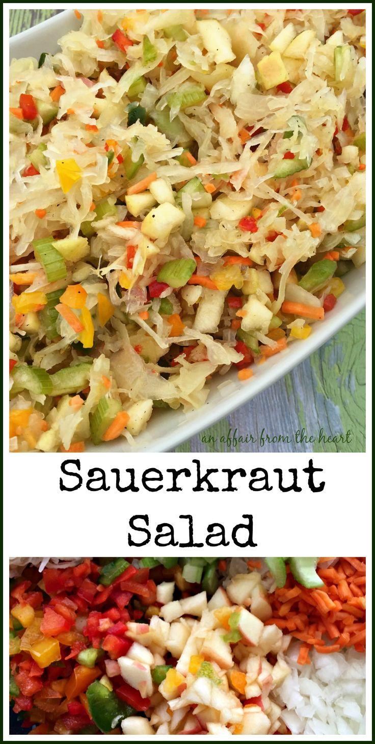 Sauerkraut Salad - An Affair from the Heart For dressing I used: 1 c ACV, 1/4 c oil, pinch of salt, 1/4 tsp pepper, 1/8c sugar