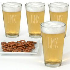 Monogrammed Micro Brew Glass Set