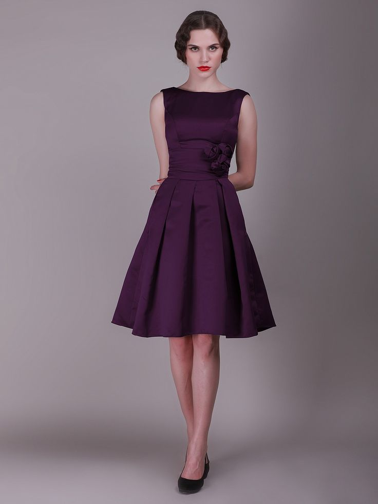 The model looks scary, but that's a nice cut and a good length. Helen Vintage Eggplant Bridesmaid Dresses EIDAD326