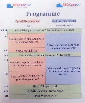 Programme et compte-rendu du Web Camp Day d'Angers 2014 (SEO Camp)