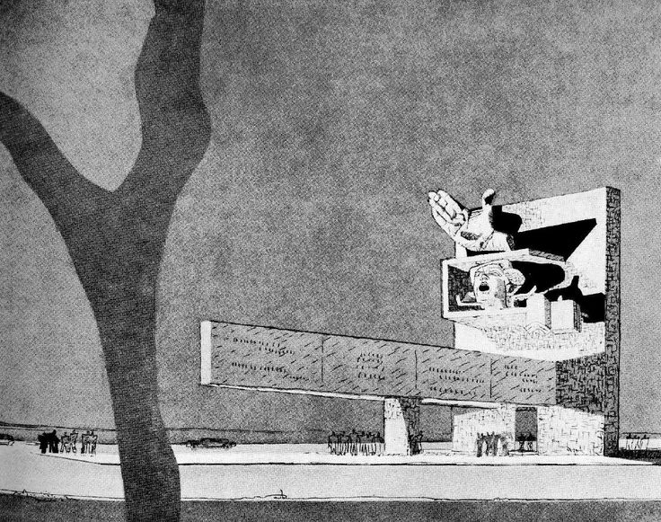 Proposal for Monument in Memory of Vaillant-Couturier (1937-38) by Le Corbusier. From Le Corbusier Oeuvre complète Vol 4 (1938-46).