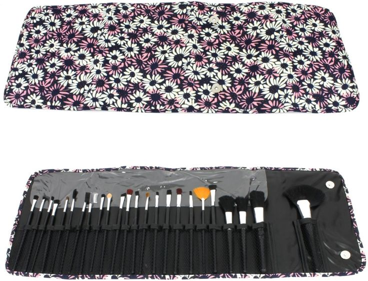 Wholesale Cosmetic Brush Set - Daisy Print Case 24 Piece Set (Case of 12)