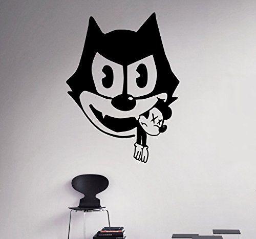 Funny Cartoon Vinyl Decal Felix Cat Wall Sticker Comics Home