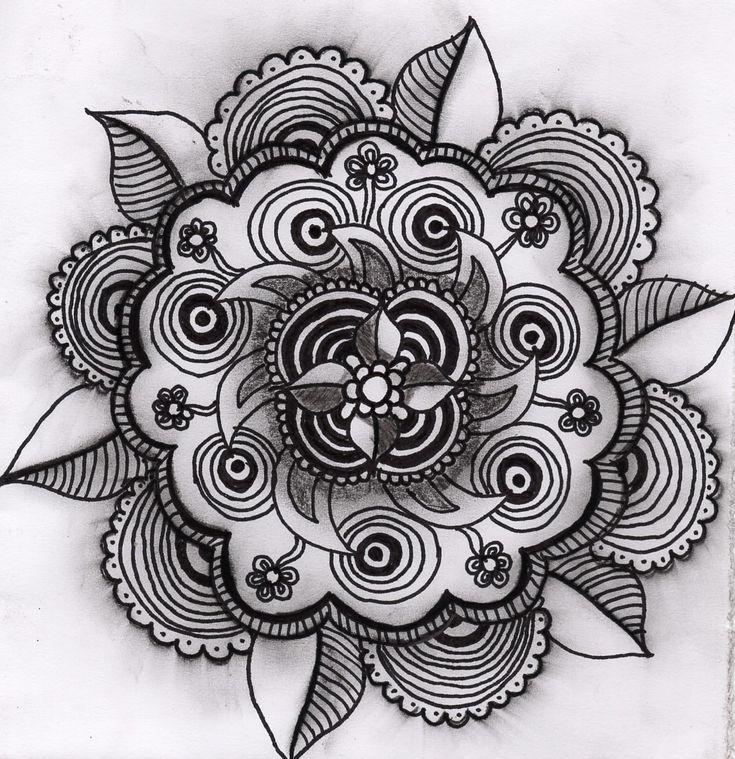 Handgemaakte mandala van Zen met NEI. Gemaakt met de Zentangle methode.
