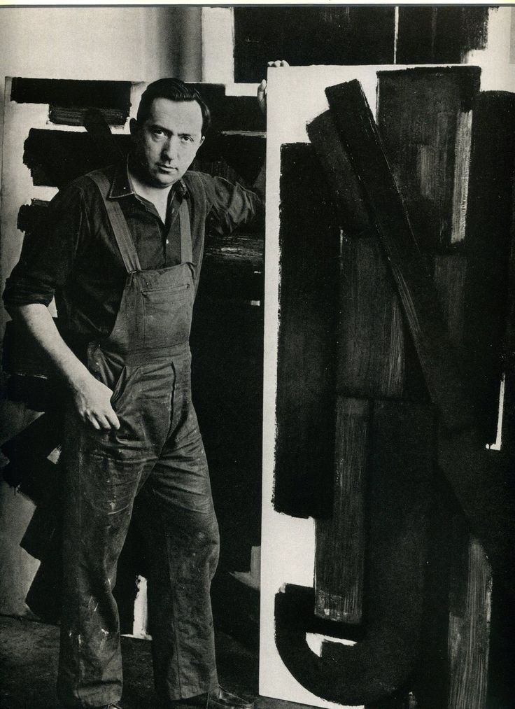 Pierre SOULAGES in the studio 1954 by Denise COLOMB
