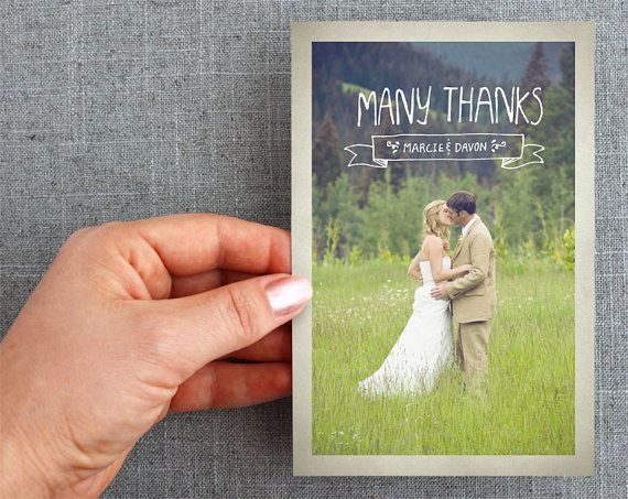Custom Thank you Post cards Hand lettered by Minelolly. #banner #wedding