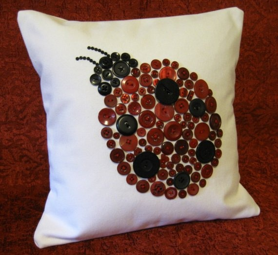 Custom 12x12 Button Ladybug Pillow -- Reserved for 'Sarabouchard'