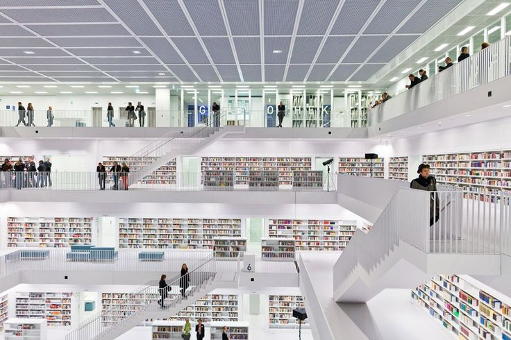 The World's Most Beautiful Libraries: Germany's Stuttgart City Library by Yi Architects.