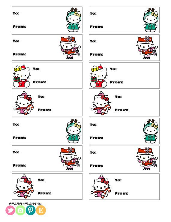 ... Labels - Gift Tags | Christmas Labels, Hello Kitty Gifts and Gift Tags