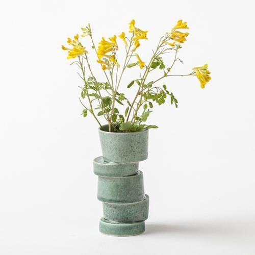 Green stacked vase mini is cast in porcelain