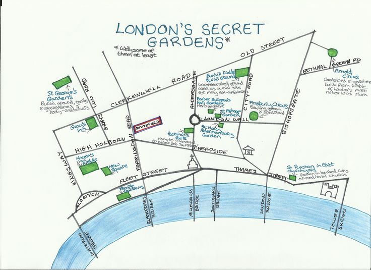 London's secret gardens map