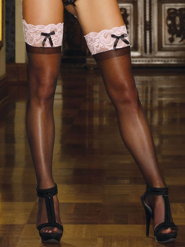 Dreamgirl She's Got Legs Thigh High Stockings D0026 £14.99  Show off your legs in these sheer thigh highs with contrast lace top and satin bow detail. #dreamgirl #stockings