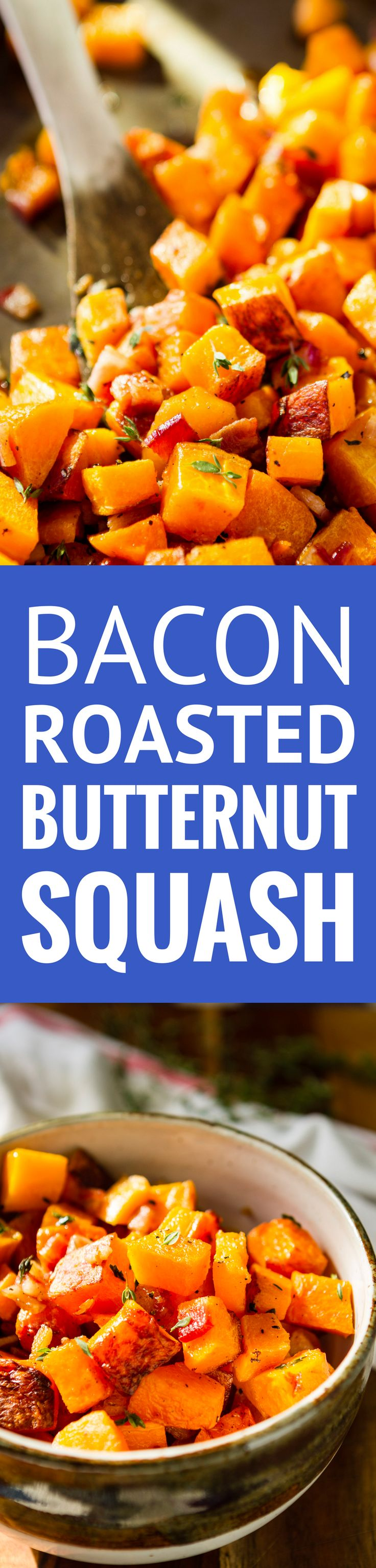 Bacon Roasted Butternut Squash -- 3 ingredients never tasted so good as in this roasted butternut squash recipe… Just thick cut bacon, butternut squash and fresh thyme. The perfect paleo side dish or weeknight sheet pan meal, total winner! | roasted butternut squash oven | healthy roasted butternut squash | easy roasted butternut squash | roasted butternut squash paleo | find the recipe on unsophisticook.com