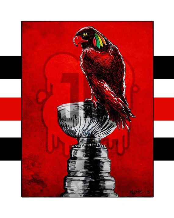 A Black Hawk sitting on a well earned perch. Blackhawks are Stanley Cup Champions!