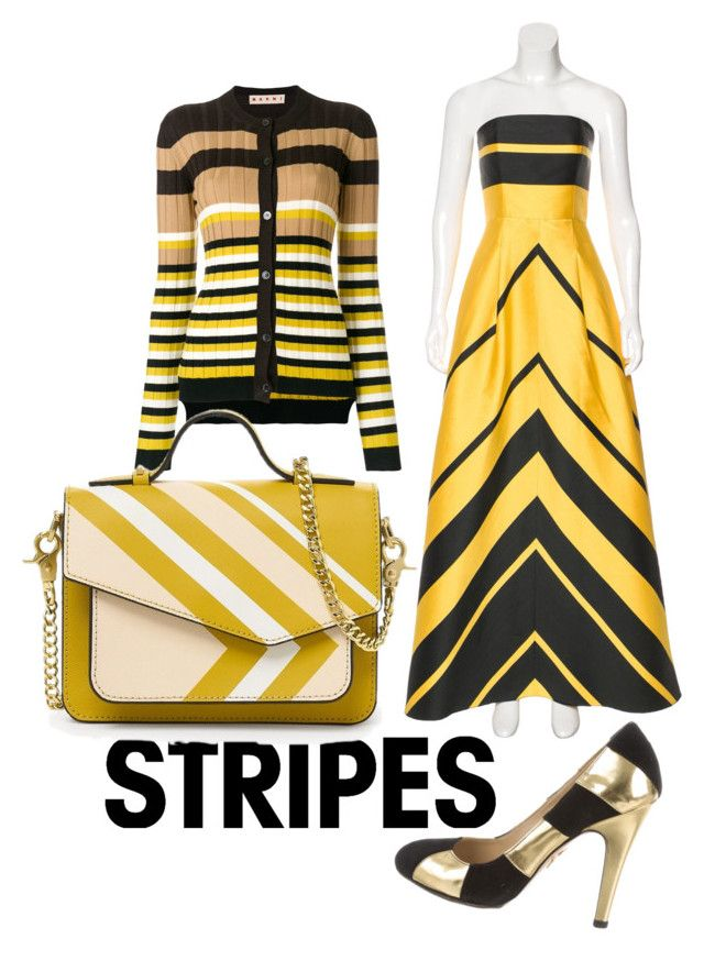 """Stripes #2"" by echoofshatteredice on Polyvore featuring NOIR Sachin + Babi, Charlotte Olympia, Marni, stripesonstripes and PatternChallenge"
