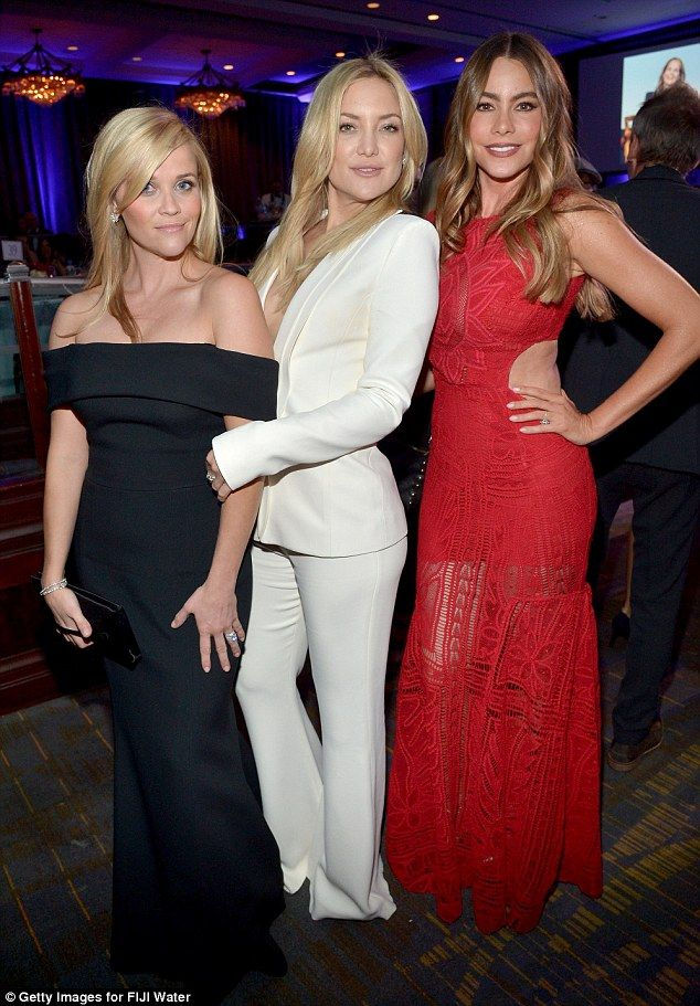 Tremendous trio: Kate and Sofia joined their gal pal Reese Witherspoon who was being honoured
