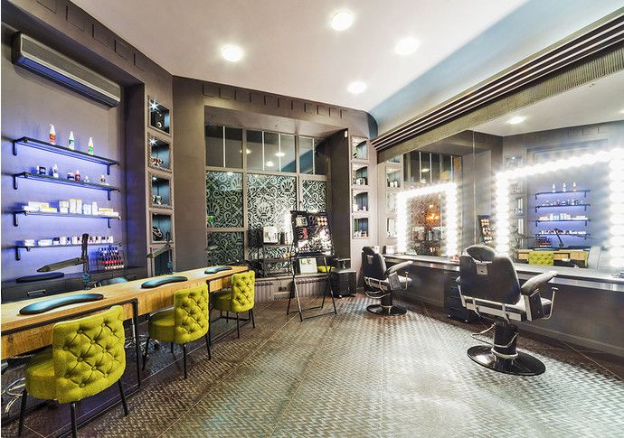 Beauty salon hairdresser make up and nailbar zone grey walls #SMIRNOVAINTERIORSPARIS make up lamps